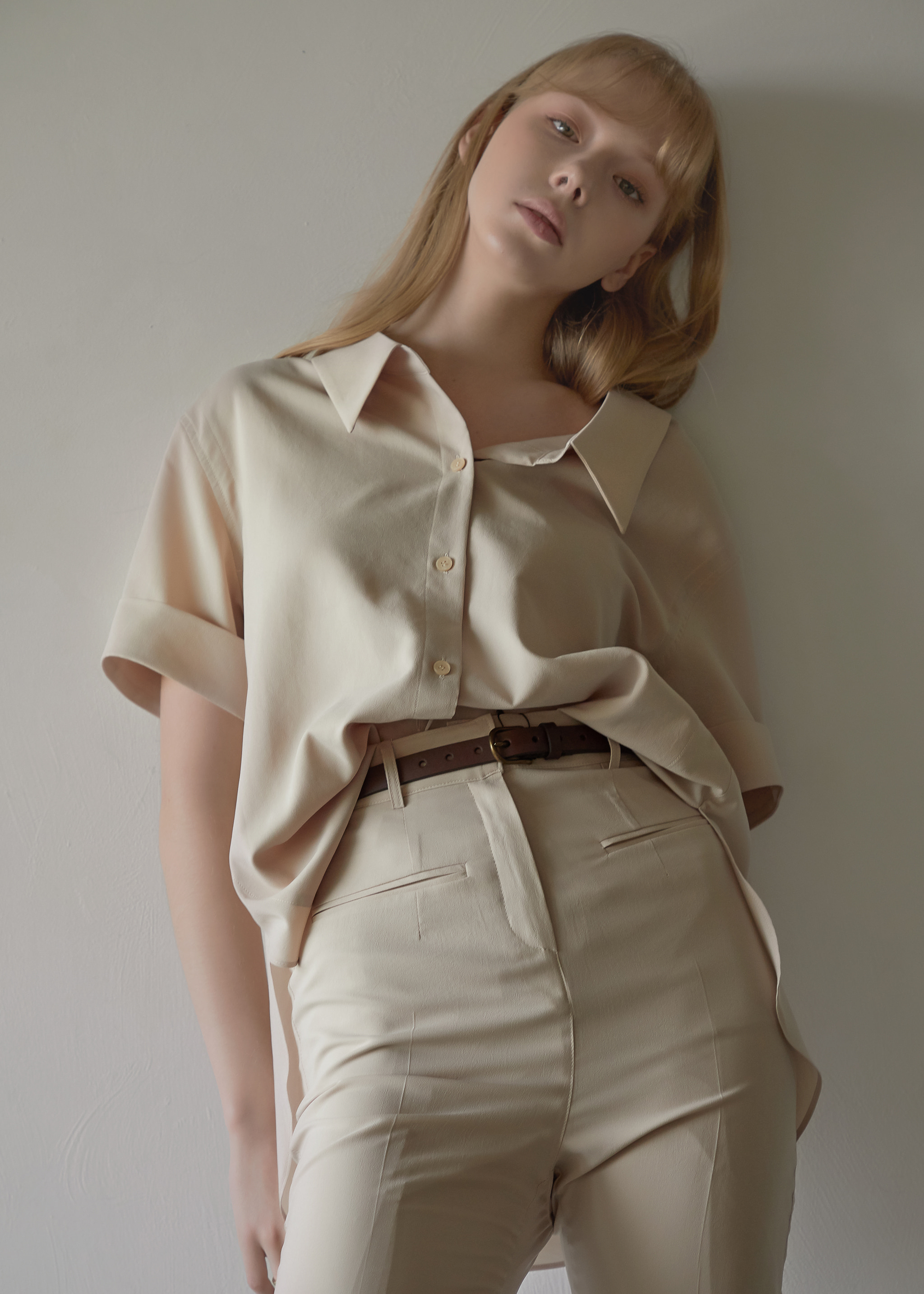 SHIRRING OVER SHIRT (WOOD BEIGE)