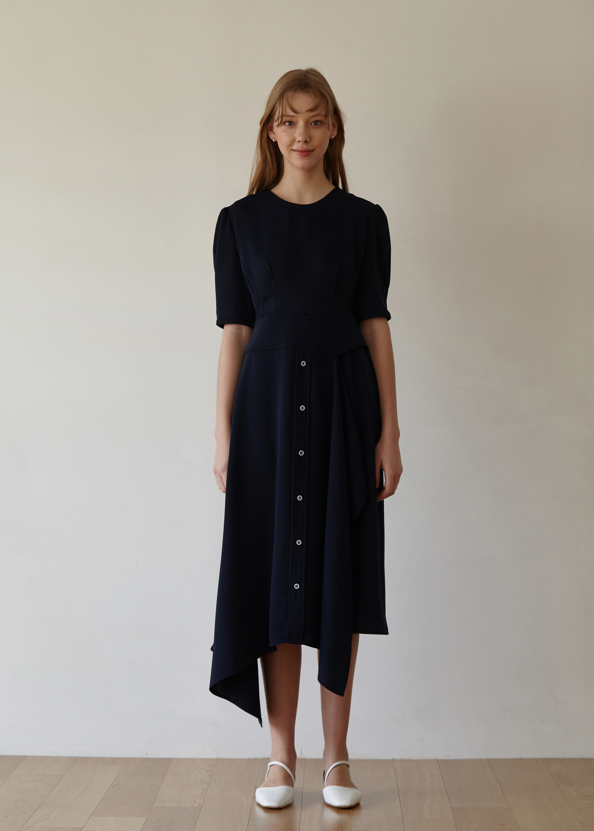 LAYERED BUTTON DRESS (NAVY)