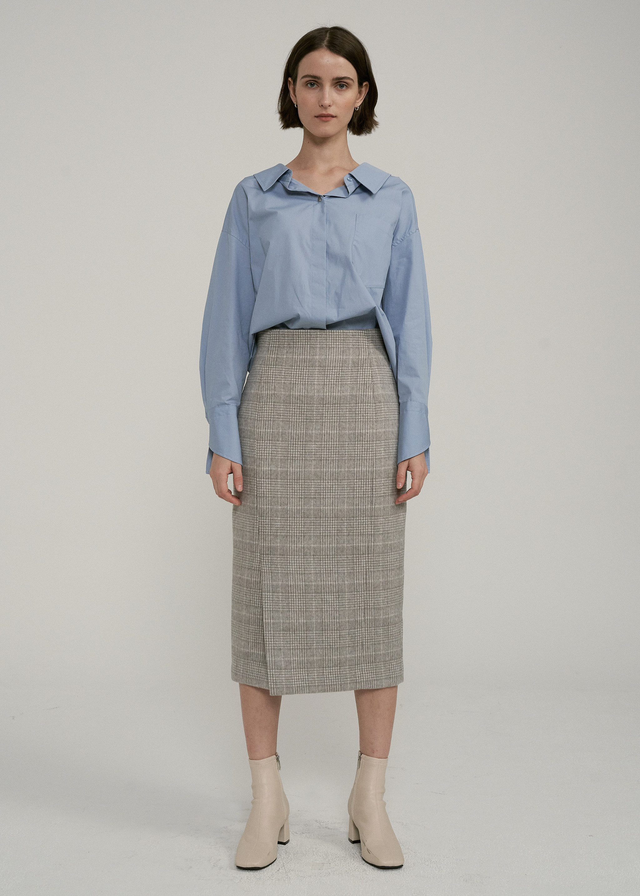 WOOL SLIT LONG SKIRT (CHECK)