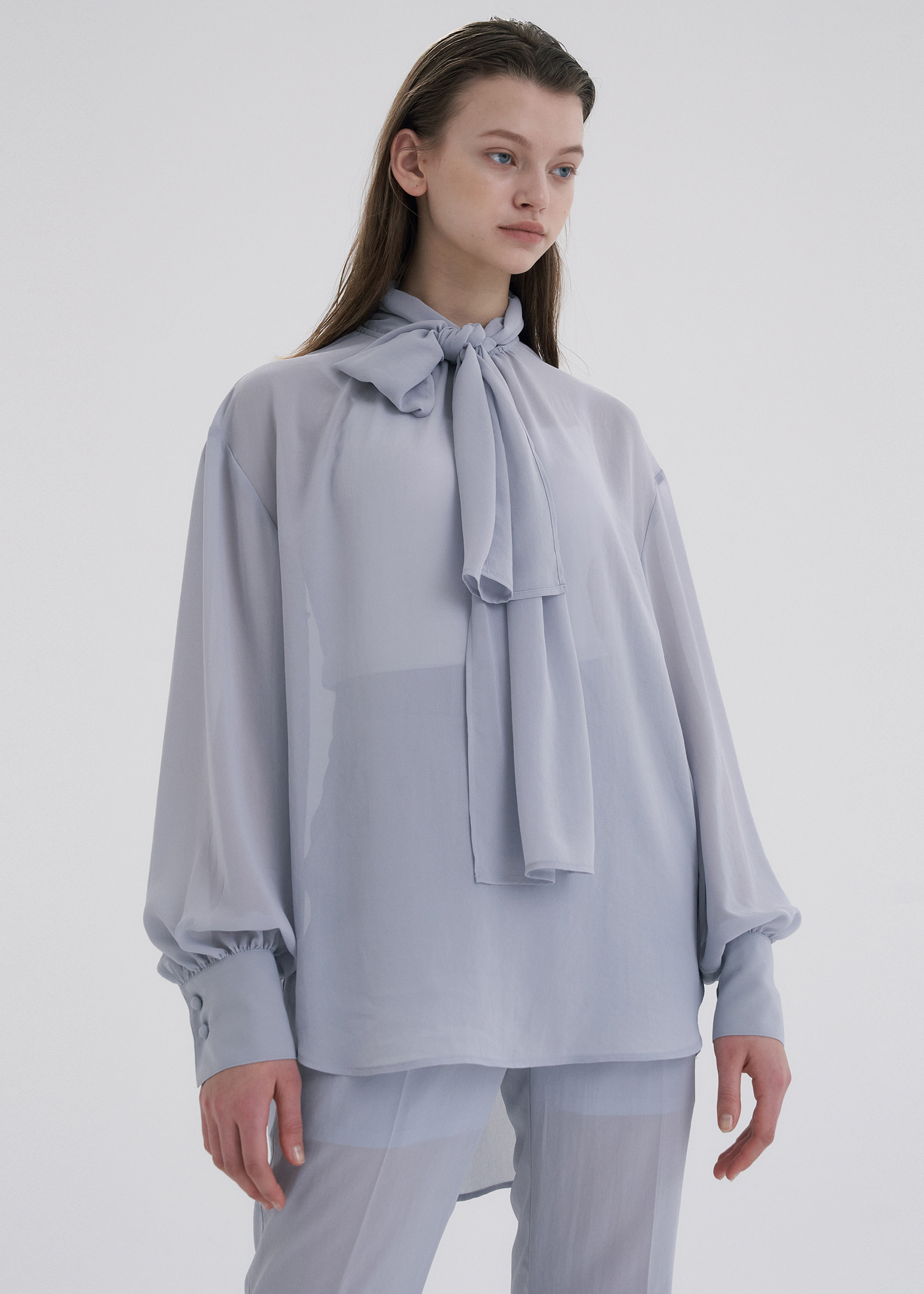 TIE-NECK CHIFFON BLOUSE (BLUE)