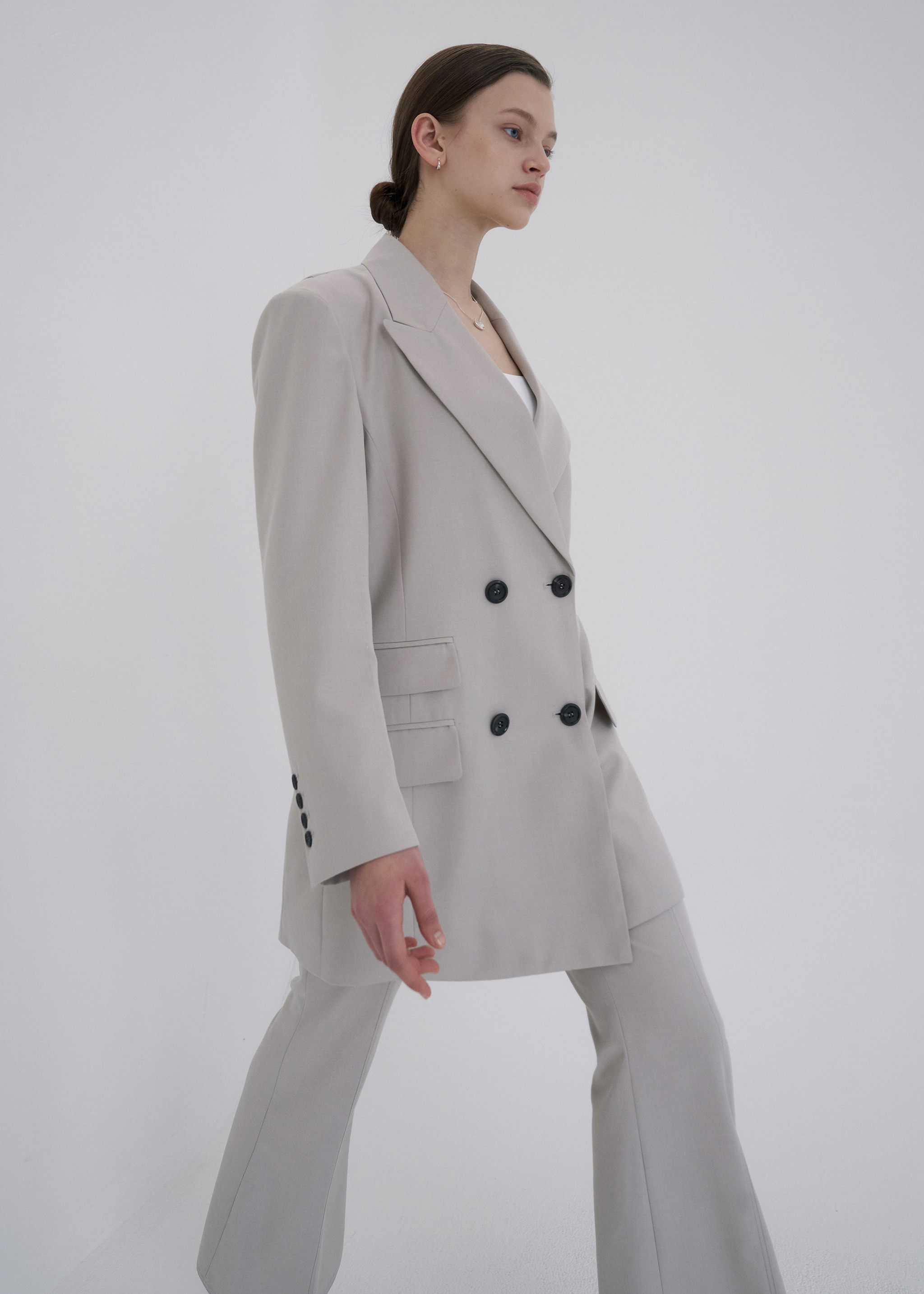 WOOL OVERSIZED DOUBLE BLAZER (GREY BEIGE)