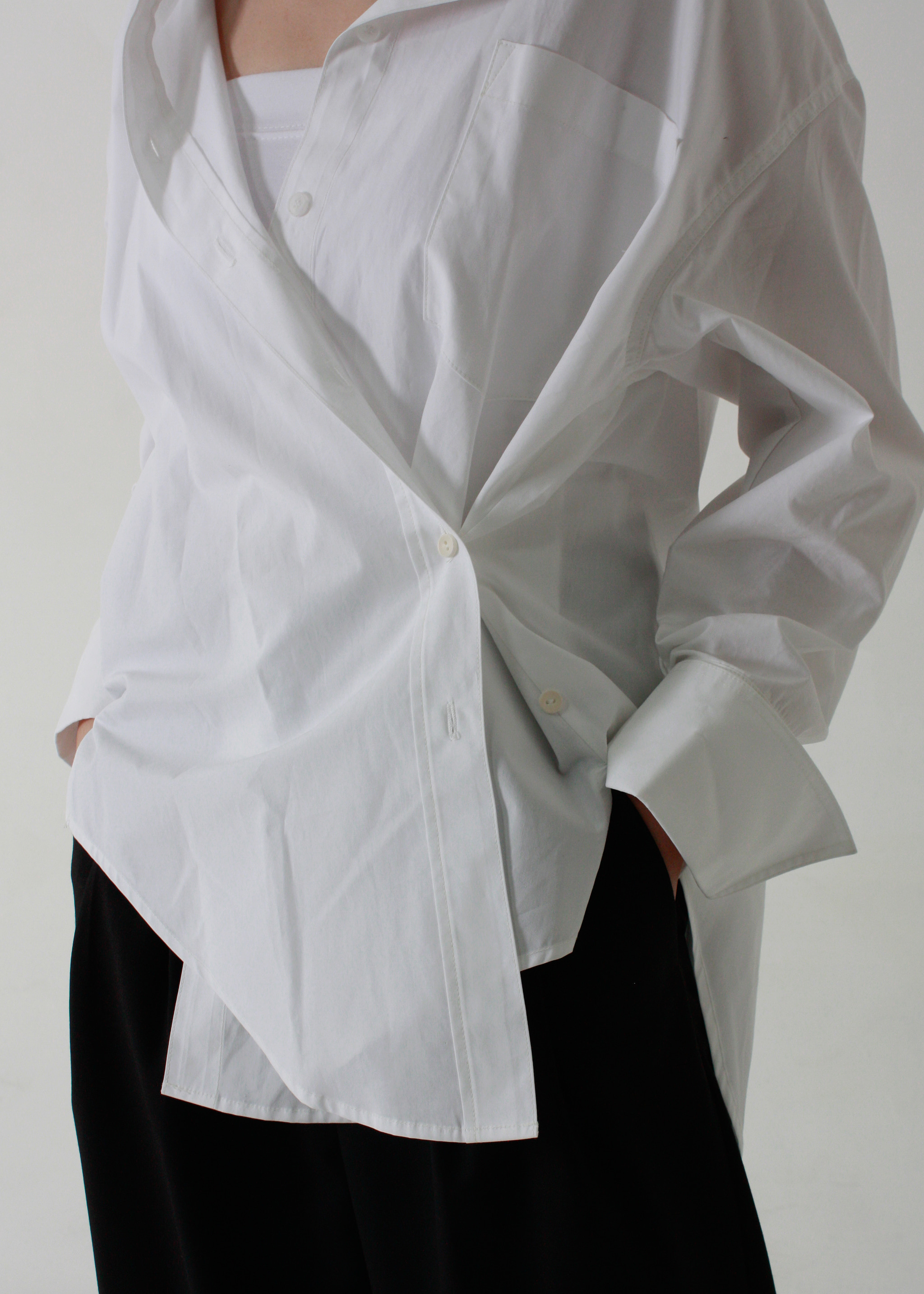 TWO WAY COTTON SHIRT (WHITE)