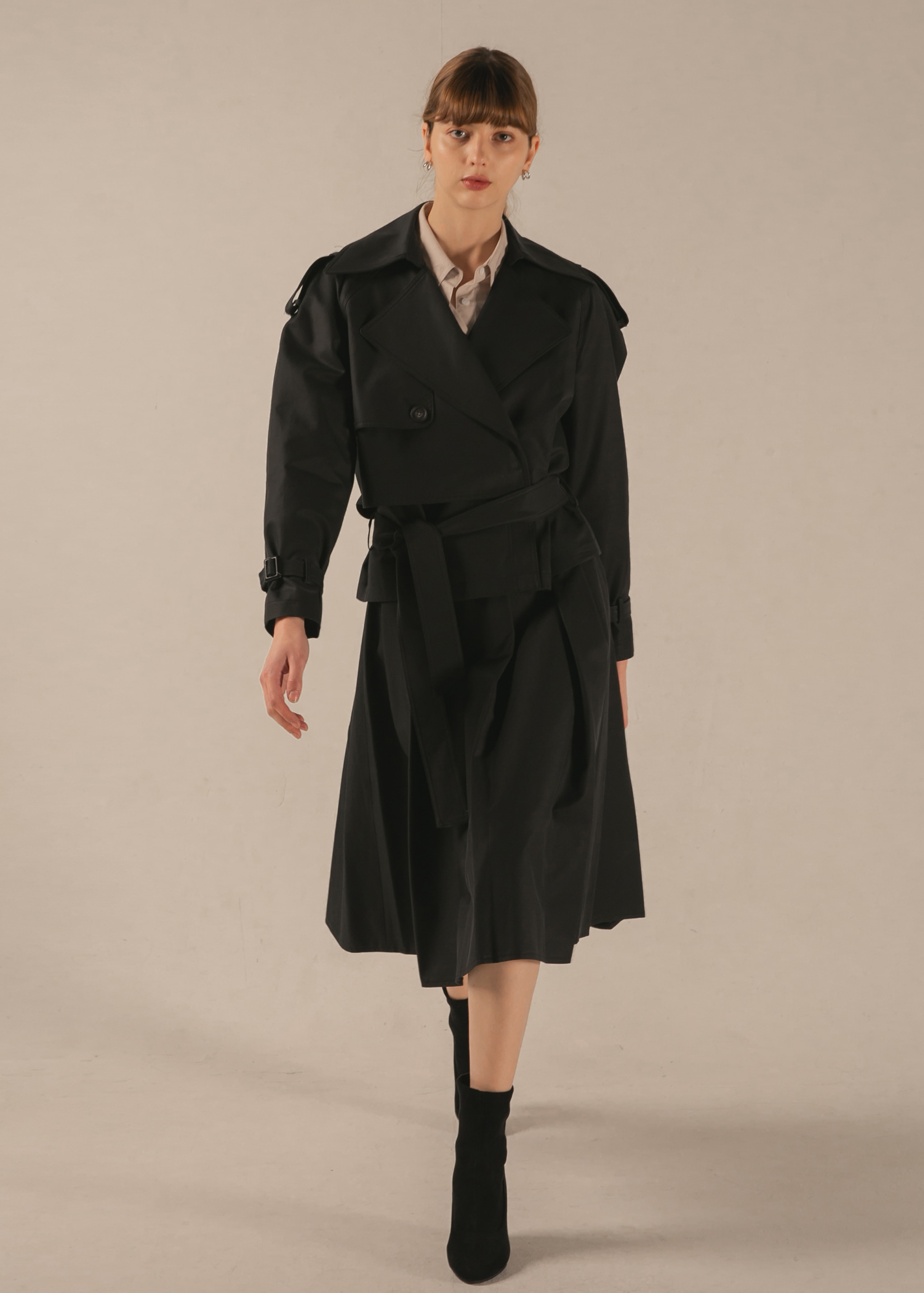 RAGLAN HALF TRENCH COAT (DARK NAVY)