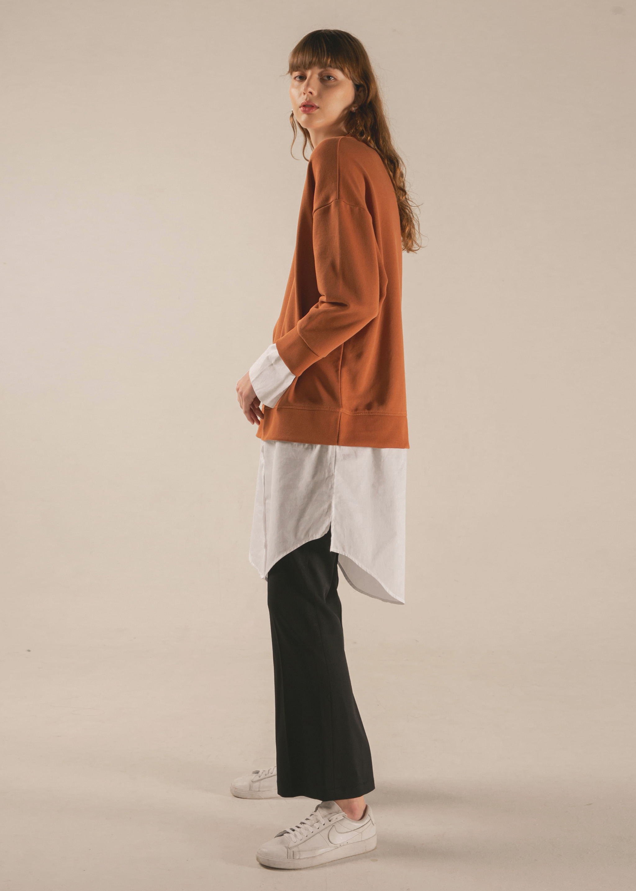 SHIRT LAYERED SWEATSHIRT (ORANGE BROWN)