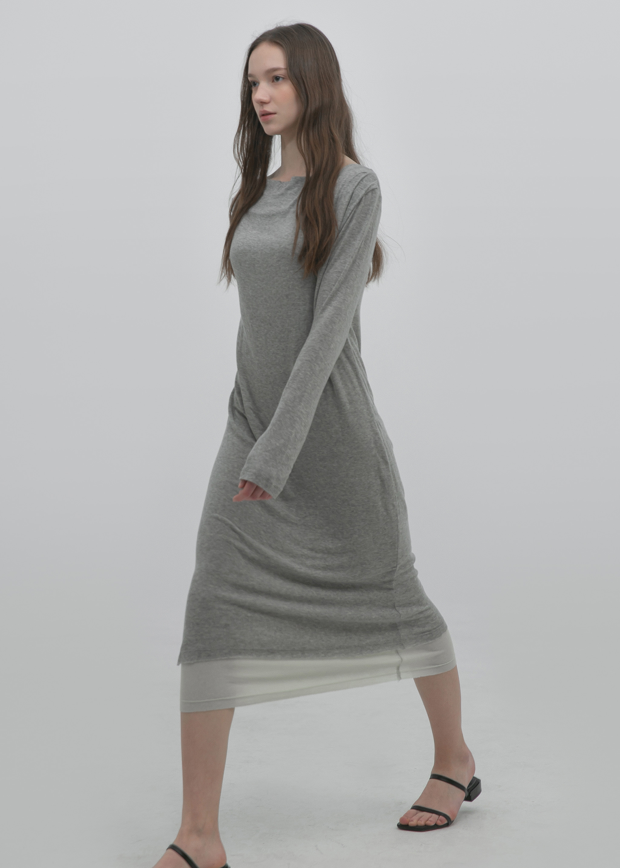 LAYERED JERSEY DRESS (GREY/MINT)