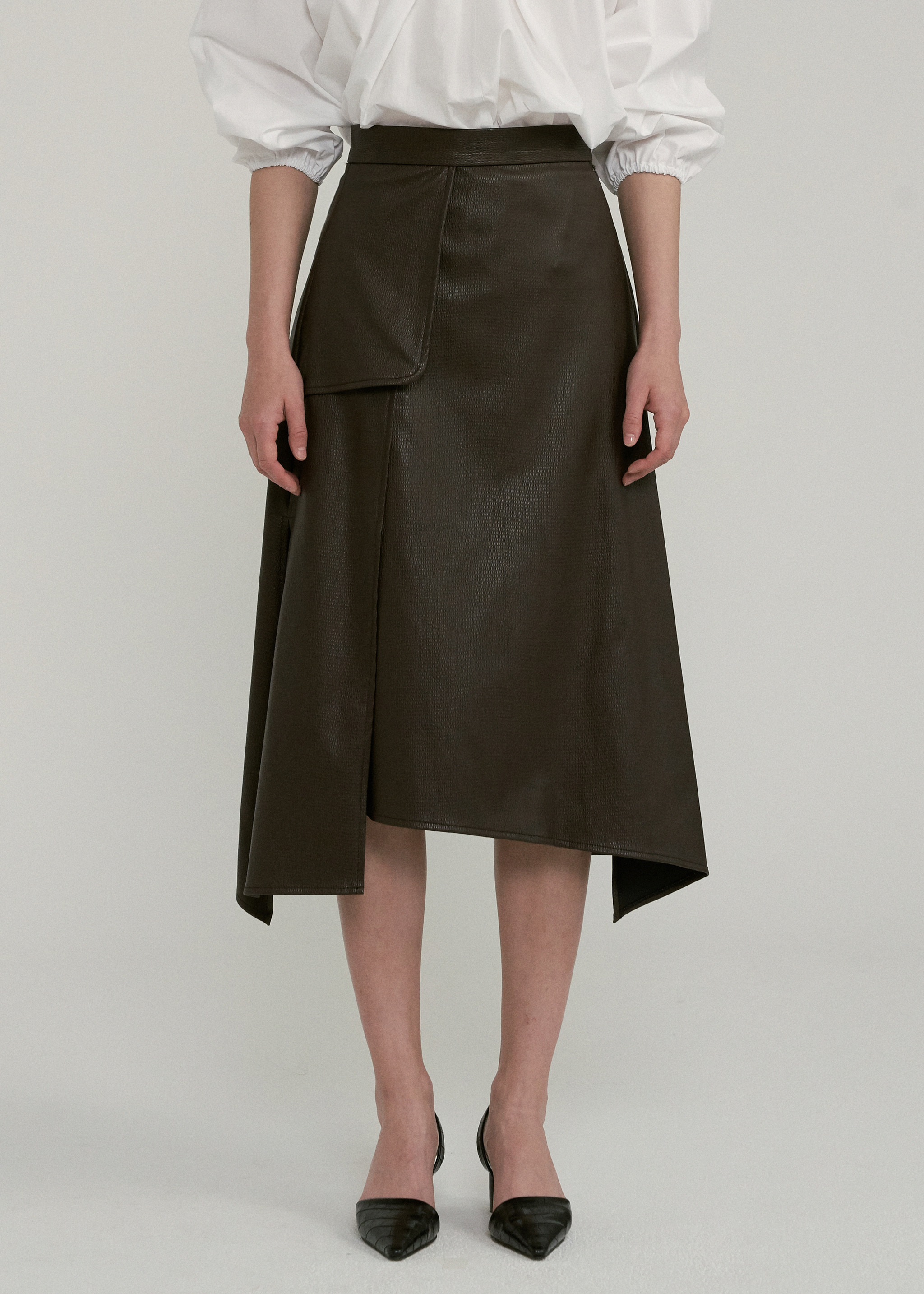 LEATHER SPLIT SKIRT (BROWN)