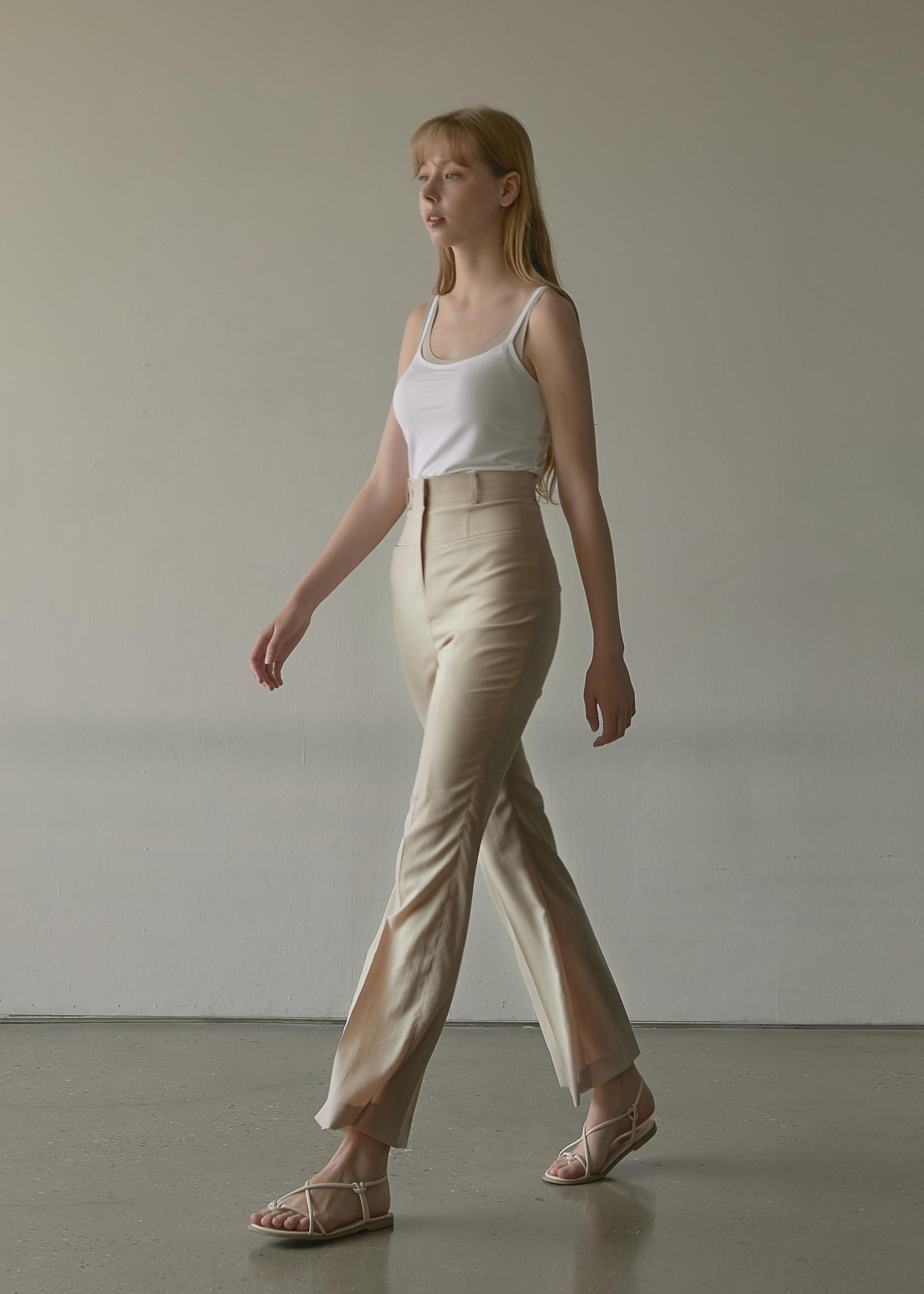 BOOTS CUT HIGH WAIST PANTS (WOOD BEIGE)