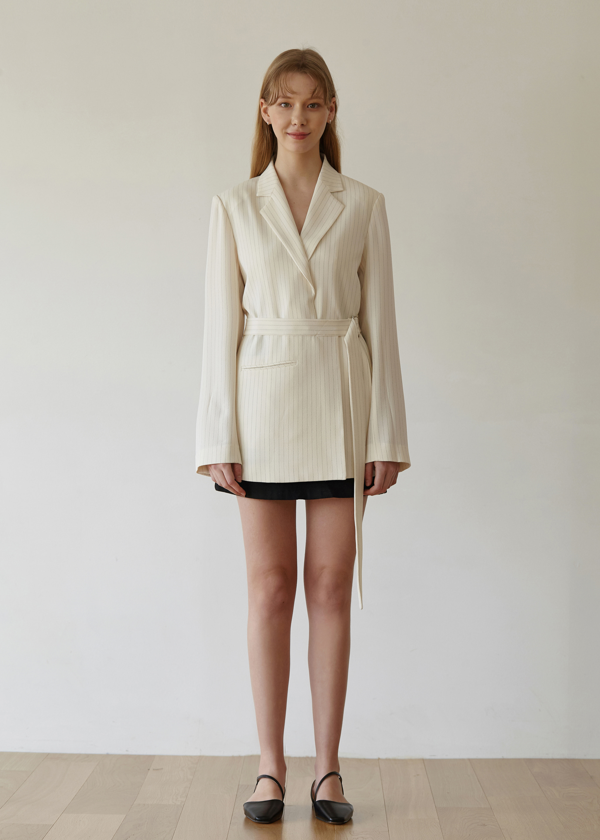 STRIPE WRAP BLAZER (CREAM)