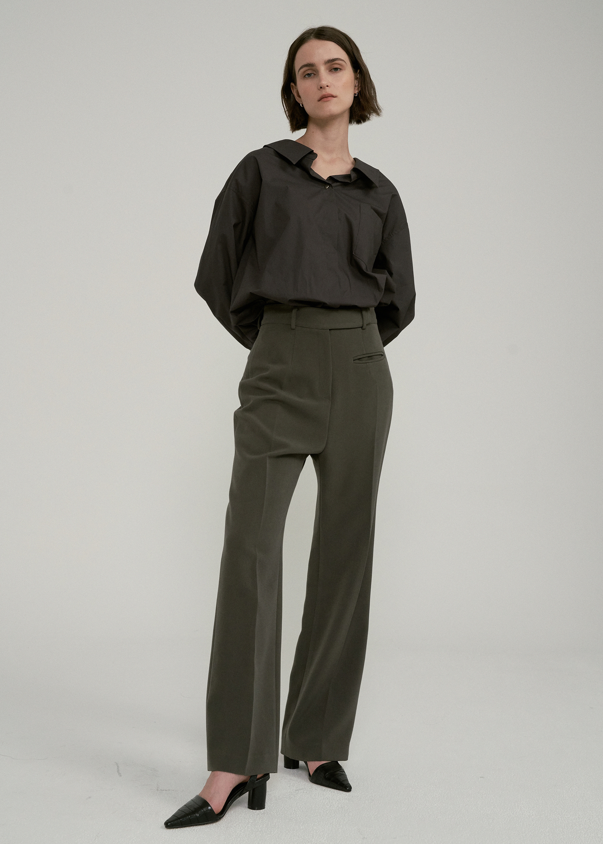 HIGH WAIST BUTTON POCKET PANTS (KHAKI)