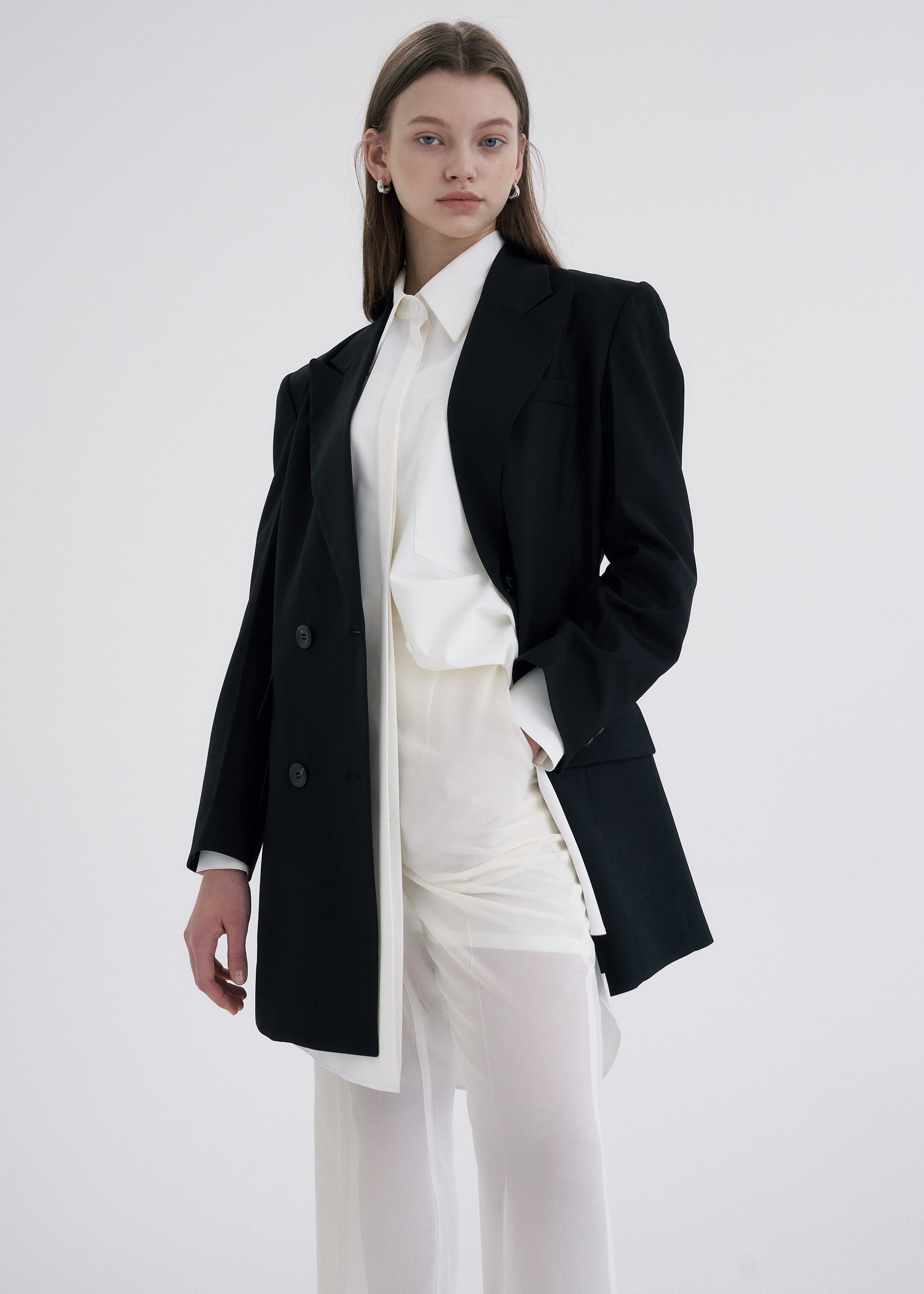 WOOL OVERSIZED DOUBLE BLAZER (BLACK)