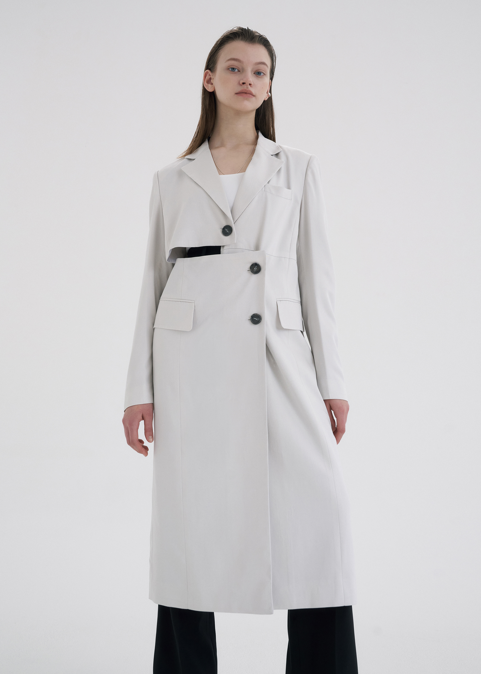TWO-WAY LONG JACKET (LIGHT GREY)