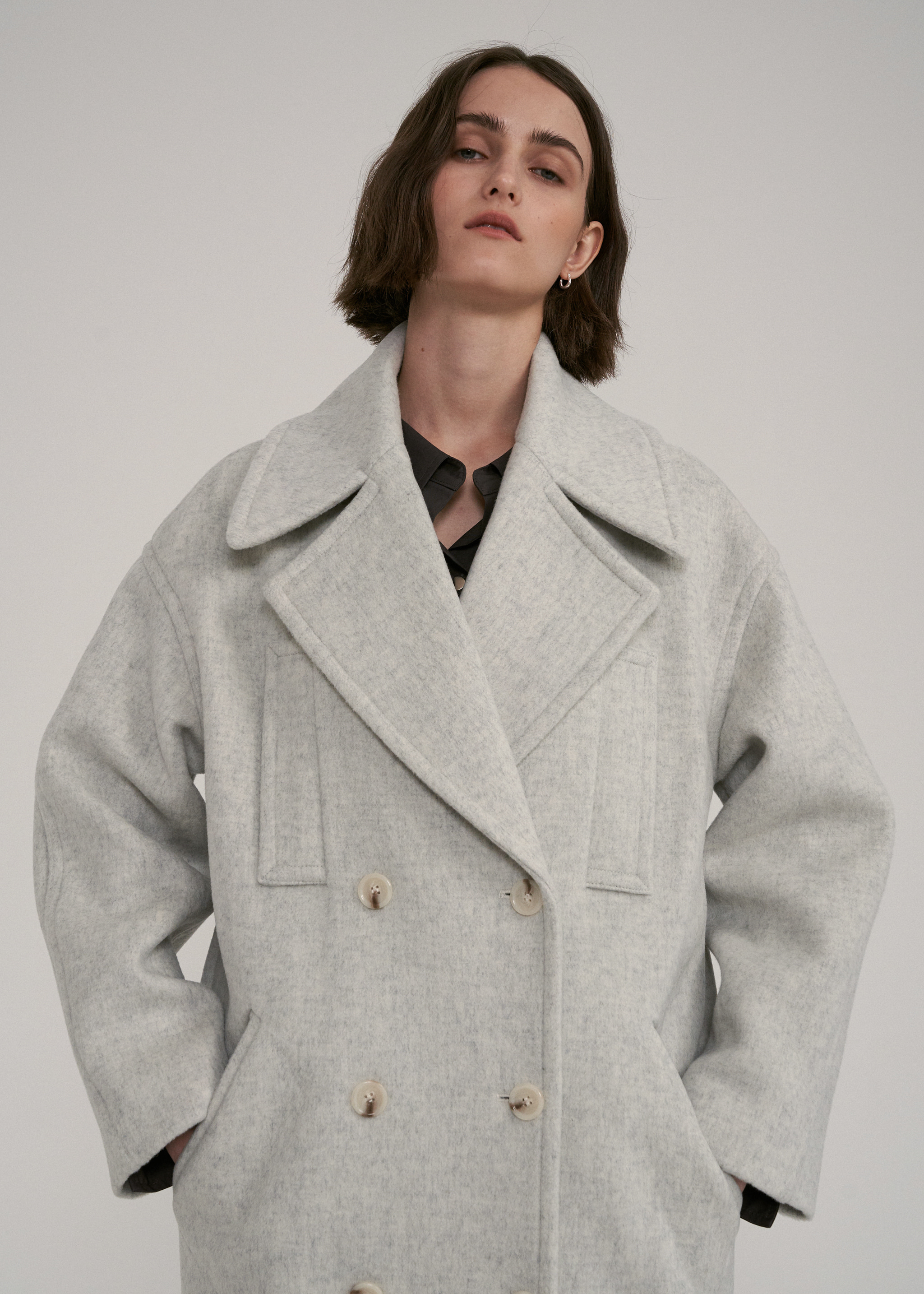 WOOL STITCH LONG COAT (IVORY)