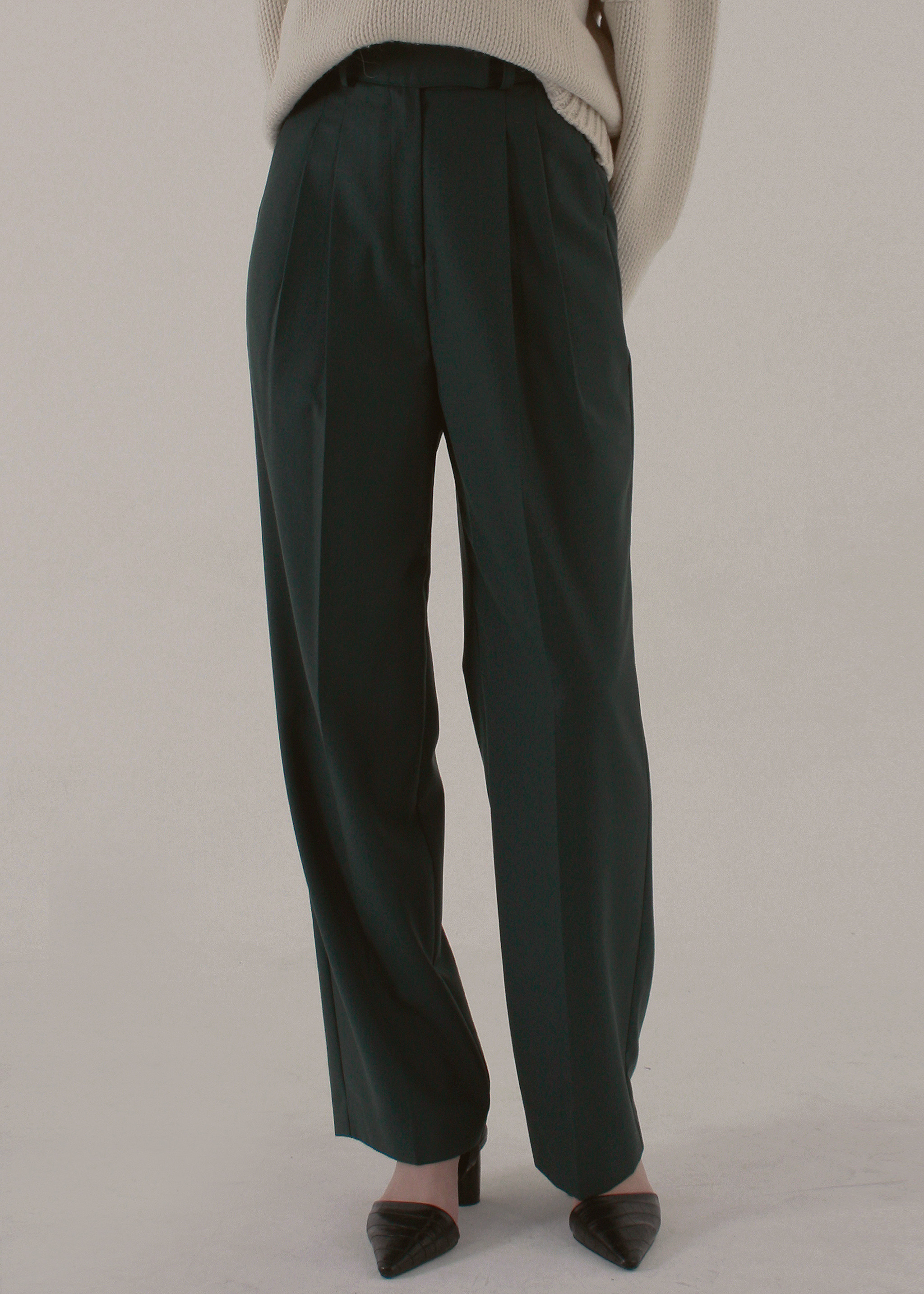 WIDE LEG TROUSERS (DEEP GREEN)