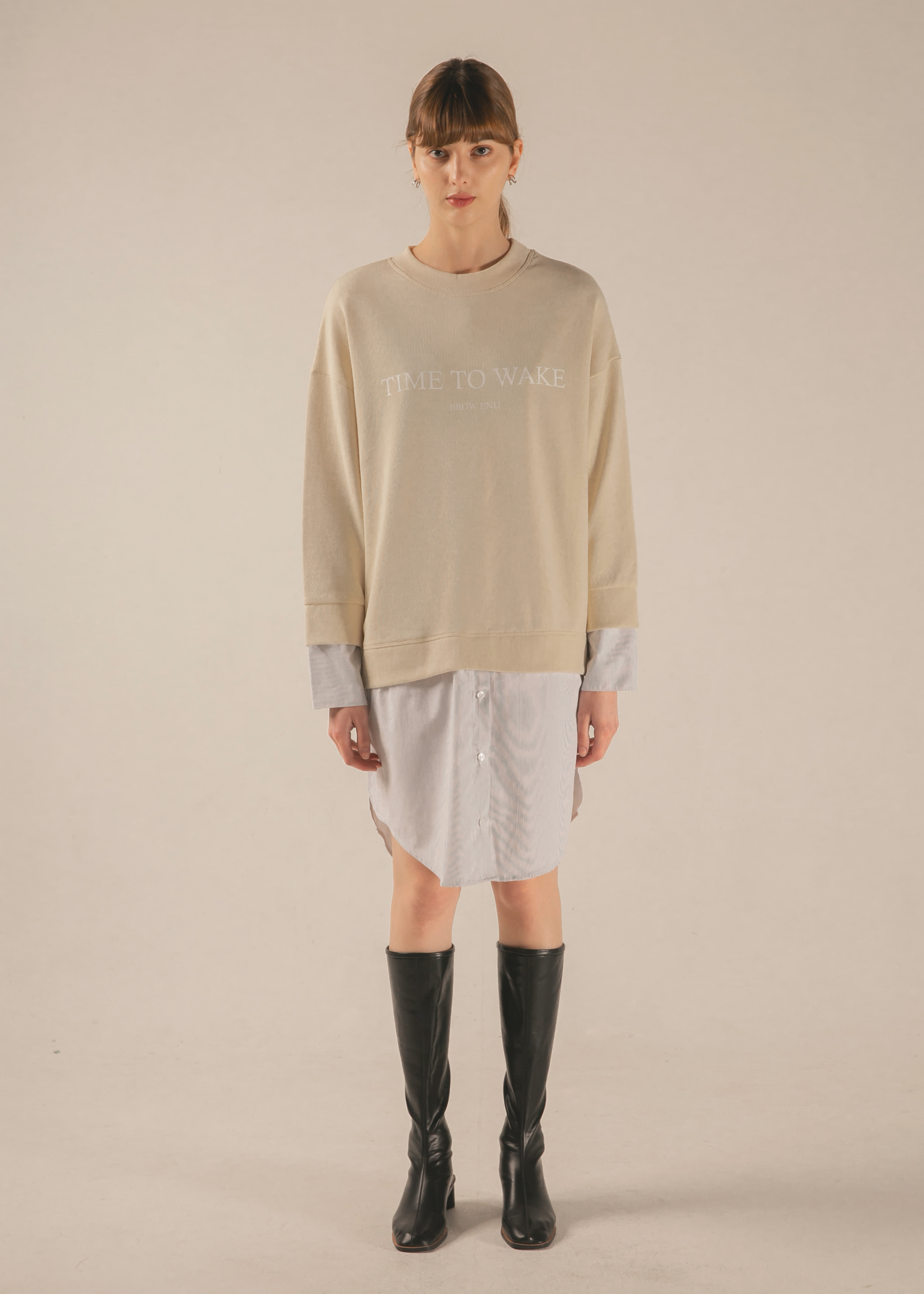 SHIRT LAYERED SWEATSHIRT (CREAM/STRIPE)