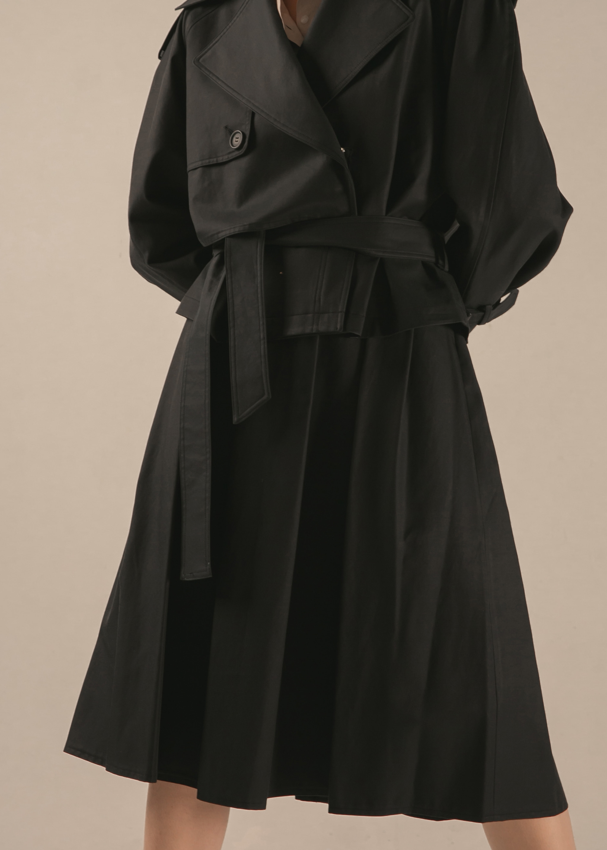 PLEATED TRENCH SKIRT (DARK NAVY)