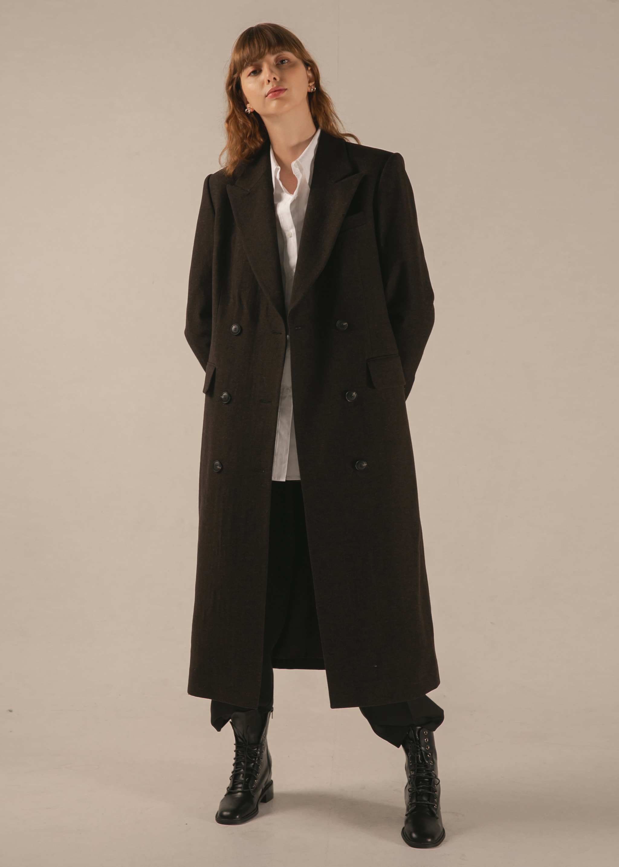 WOOL MAXI DOUBLE COAT (DARK BROWN)
