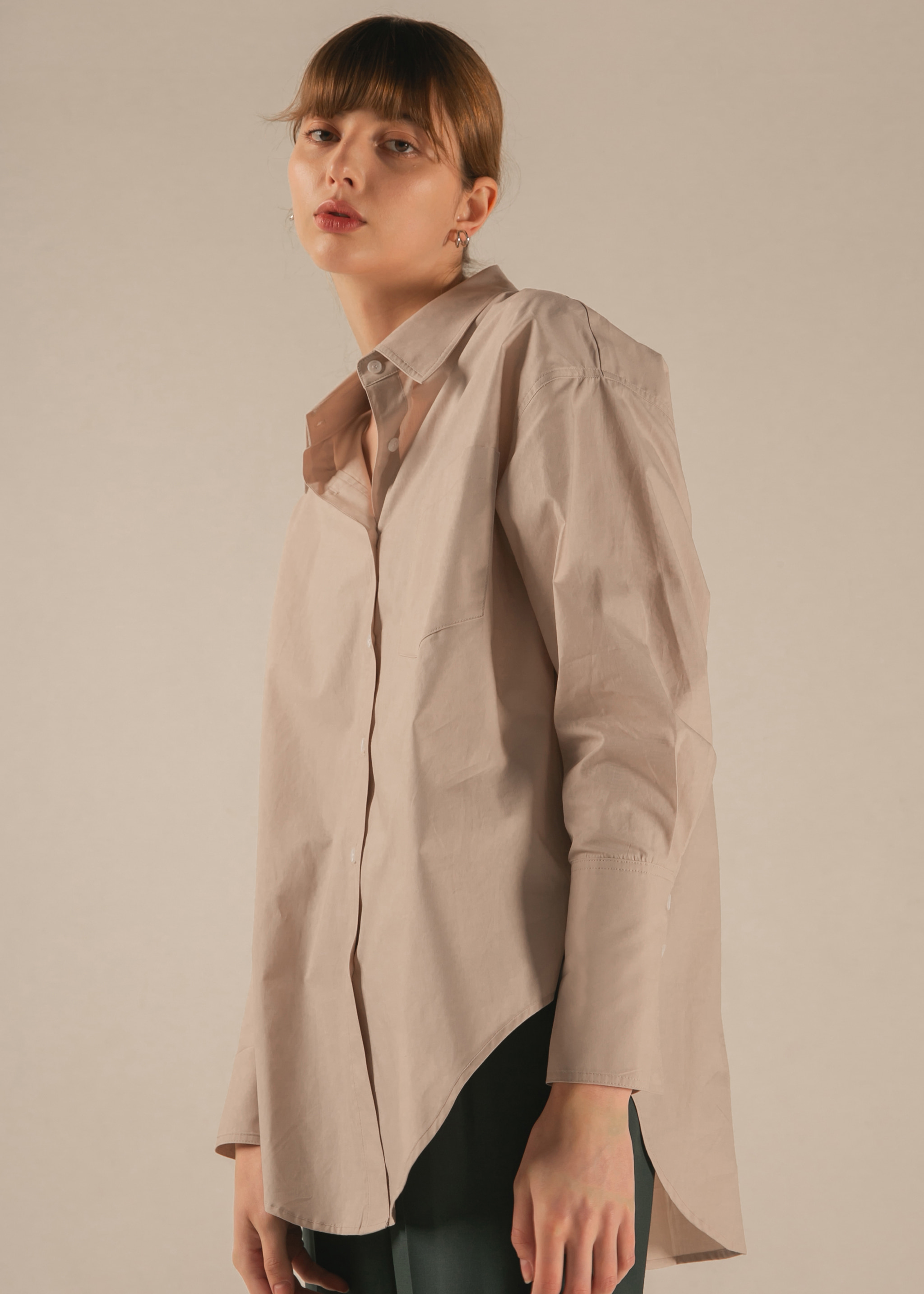 TWO WAY COTTON SHIRT (DEEP BEIGE)