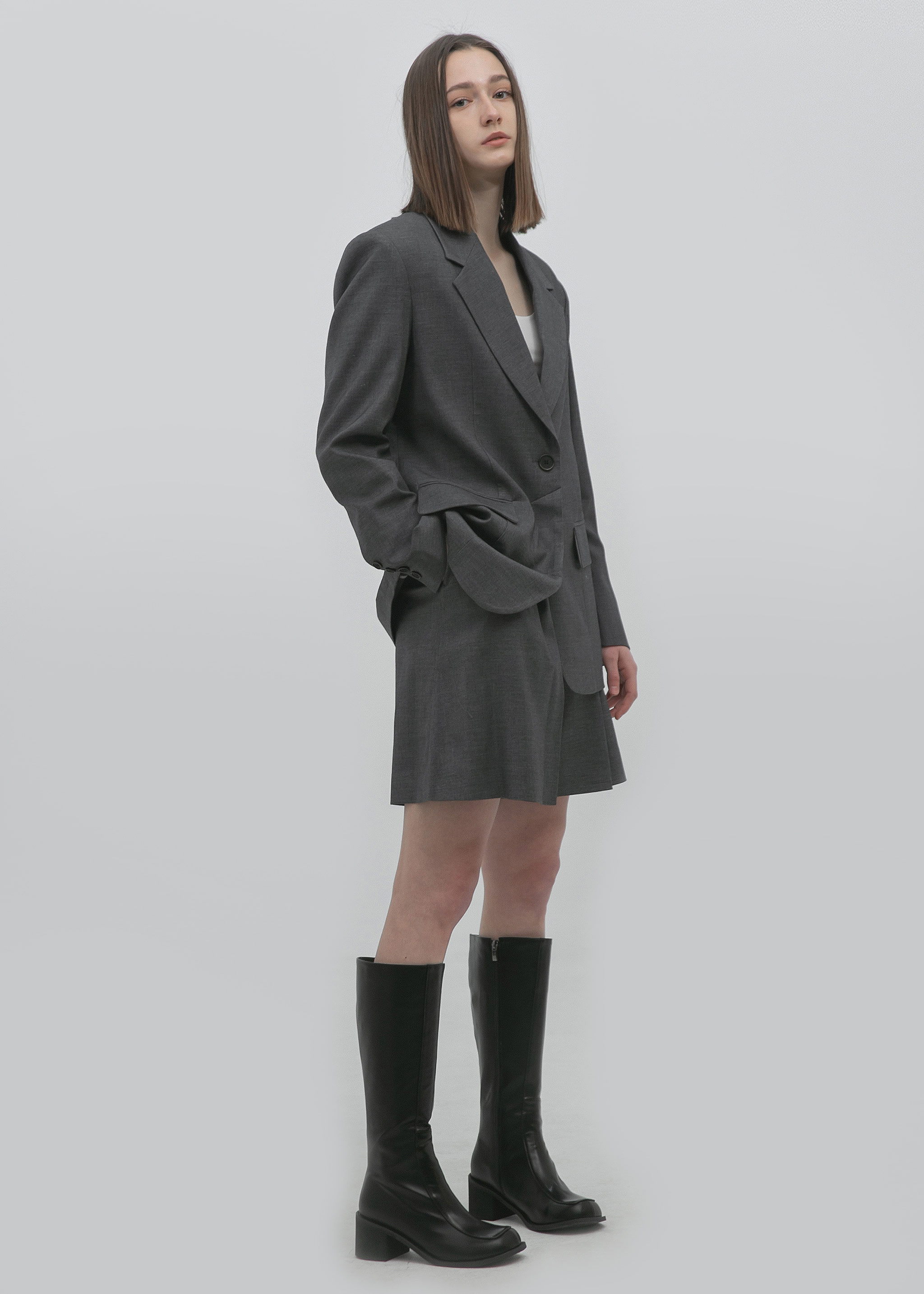 WOOL SINGLE BLAZER (ULTIMATE GRAY)